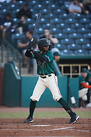Liover Peguero (10) of the Greensboro Grasshoppers at bat against the Hickory Crawdads at First National Bank Field on May 6, 2021 in Greensboro, North Carolina. (Brian Westerholt/Four Seam Images)