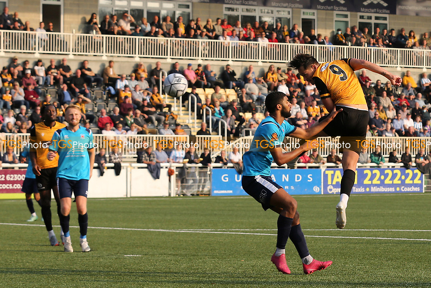 Alfie Pavey of Maidstone United heads the ball just wide of the Eastbourne goal during Maidstone United vs Eastbourne Borough, Vanarama National League South Football at the Gallagher Stadium on 9th October 2021