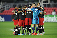 WASHINGTON, DC - MAY 13: D.C. United getting in the huddle during a game between Chicago Fire FC and D.C. United at Audi FIeld on May 13, 2021 in Washington, DC.