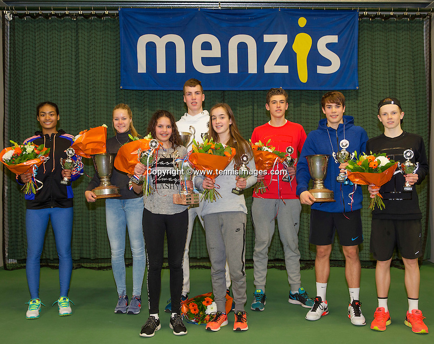 Rotterdam, The Netherlands, March 20, 2016,  TV Victoria, NOJK 14/18 years, the winners and runners up 14 and 18 years<br /> Photo: Tennisimages/Henk Koster