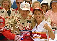 Bill Elliott Victory Lane  trophy Pepsi Firecracker 400 at Daytona International Speedway in Daytona Beach, FL in July 1988. (Photo by Brian Cleary/www.bcpix.com)