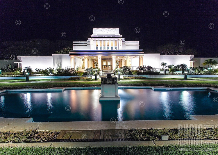 Mormon Temple at night in Laie, O'ahu