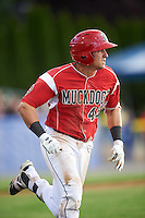 Batavia Muckdogs shortstop J.J. Gould (49) during a game against the Aberdeen Ironbirds on July 15, 2016 at Dwyer Stadium in Batavia, New York.  Aberdeen defeated Batavia 4-2. (Mike Janes/Four Seam Images)