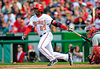 13 April 2009: Washington Nationals' outfielder Lastings Milledge at bat against the Philadelphia Phillies during the Nats' Home Opener at Nationals Park in Washington, DC. The Nats fell short in their 9th inning rally, losing 9-8, and marking their 7th consecutive loss of the 2009 season. Mandatory Credit: Ed Wolfstein Photo