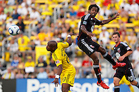 26 JUNE 2010:  Emilio Renteria of the Columbus Crew (20) and Clyde Simms #19 of DC United  during MLS soccer game between DC United vs Columbus Crew at Crew Stadium in Columbus, Ohio on May 29, 2010. The Crew defeated DC United 2-0.