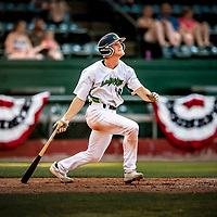 20 June 2021: The Vermont Lake Monsters outfielder Sky Rahill, from Burlington, VT, watches his 8th inning home run clear the right field fence during a game against the Westfield Starfires at Centennial Field in Burlington, Vermont. Rahill went 1 for 2 with his homer accounting for all the team scoring as the Lake Monsters fell to the Starfires 10-2 at Centennial Field, in Burlington, Vermont. Mandatory Credit: Ed Wolfstein Photo *** RAW (NEF) Image File Available ***