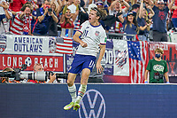 5th September 2021; Nashville, TN, USA;  United States forward Brenden Aaronson (11) celebrates with the fans after scoring a goal during a CONCACAF World Cup qualifying match between the United States and Canada on September 5, 2021 at Nissan Stadium in Nashville, TN.