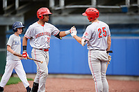 Greeneville Reds designated hitter Reniel Ozuna (27) is congratulated by Brandt Stallings (25) as he returns to the dugout after hitting a home run in the top of the third inning during the second game of a doubleheader against the Princeton Rays on July 25, 2018 at Hunnicutt Field in Princeton, West Virginia.  Greeneville defeated Princeton 8-7.  (Mike Janes/Four Seam Images)