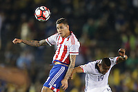 Pasadena, CA - Tuesday June 07, 2016: Paraguay forward Antonio Sanabria (9) and Colombia defender Farid Díaz (19) during a Copa America Centenario Group A match between Colombia (COL) and Paraguay (PAR) at Rose Bowl Stadium.