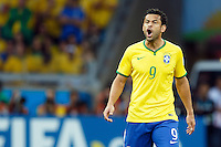Fred of Brazil shouts in frustration