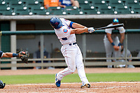 Tennessee Smokies first baseman Jake Slaughter (28) at bat against the Montgomery Biscuits on May 9, 2021, at Smokies Stadium in Kodak, Tennessee. (Danny Parker/Four Seam Images)
