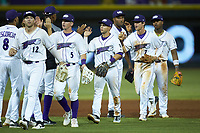 Nick Madrigal (3) of the Winston-Salem Dash high fives teammates following their win over the cm\ at BB&T Ballpark on June 1, 2019 in Winston-Salem, North Carolina. The Dash defeated the Mudcats 5-4 in game two of a double header. (Brian Westerholt/Four Seam Images)