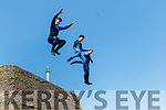 L-R Brandon trio, Seamus Lyne, Jamie Sugrue and Cian Grady brave the 30 foot drop off the high wall at Brandon pier on Bank holiday Monday