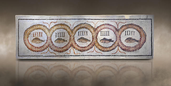 Pictures of a geometric Roman doorstep mosaics depicting five fishes surrounded by bars and a medallion, from the ancient Roman city of Thysdrus. 3rd century AD The Small Baths in the M'barek Rhaiem area. El Djem Archaeological Museum, El Djem, Tunisia. Against an art background<br /> <br /> The mosaic depicts the emblem of the Pentasii, a powerful Nortyh African Roman association that organised and  maintained the wild animals and hired animal killers to carry on the games in ampitheatres.