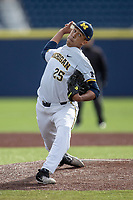 Michigan Wolverines pitcher Isaiah Paige (25) delivers a pitch to the plate against the San Jose State Spartans on March 27, 2019 in Game 1 of the NCAA baseball doubleheader at Ray Fisher Stadium in Ann Arbor, Michigan. Michigan defeated San Jose State 1-0. (Andrew Woolley/Four Seam Images)