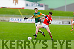 Kerry's Griffin Wharton and Jack Lawton of Cork go toe to toe for possession, in the U20 John Kerins Cup football game in Austin Stack Park on Saturday.