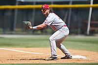 Greeneville Reds first baseman Rylan Thomas (37) on defense against the Burlington Royals at Burlington Athletic Stadium on July 8, 2018 in Burlington, North Carolina. The Royals defeated the Reds 4-2.  (Brian Westerholt/Four Seam Images)