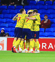 28th September 2021; Cardiff City Stadium, Cardiff, Wales;  EFL Championship football, Cardiff versus West Bromwich Albion; West Bromwich Albion players celebrate after the Karlan Grant of West Bromwich Albion goal in the 5th minute makes it 0-1