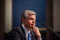 """Federal Bureau of Investigation Director Christopher A. Wray appears before a House Committee on the Judiciary hearing """"Oversight of the Federal Bureau of Investigation"""" in the US Capitol Visitors Center Auditorium at the US Capitol, in Washington, DC, Thursday, June 10, 2021. Credit: Rod Lamkey / CNP /MediaPunch"""