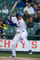 Round Rock Express third baseman Mike Olt #20 at bat against the Omaha Storm Chasers in the Pacific Coast League baseball game on April 4, 2013 at the Dell Diamond in Round Rock, Texas. Round Rock defeated Omaha in their season opener 3-1. (Andrew Woolley/Four Seam Images).