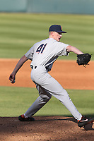 Landon Anderson (41) of the Cal State Fullerton Titans pitches against the UCLA Bruins at Jackie Robinson Stadium on March 6, 2021 in Los Angeles, California. UCLA defeated Cal State Fullerton, 6-1. (Larry Goren/Four Seam Images)