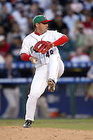 Francisco Campos of Mexico during the World Baseball Championships at Angel Stadium in Anaheim,California on March 16, 2006. Photo by Larry Goren/Four Seam Images