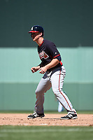 Atlanta Braves outfielder Todd Cunningham (26) during a Spring Training game against the Boston Red Sox on March 17, 2015 at JetBlue Park at Fenway South in Fort Myers, Florida.  Atlanta defeated Boston 11-3.  (Mike Janes/Four Seam Images)