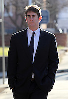 CHARLOTTESVILLE, VA - FEBRUARY 15: UVa lacrosse player Chris Clements testified on the witness stand during the George Huguely trial. Huguely was charged in the May 2010 death of his girlfriend Yeardley Love. She was a member of the Virginia women's lacrosse team. Huguely pleaded not guilty to first-degree murder. (Credit Image: © Andrew Shurtlef