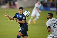 SAN JOSE, CA - SEPTEMBER 19: Andy Rios #25 of the San Jose Earthquakes goes up for a header during a game between Portland Timbers and San Jose Earthquakes at Earthquakes Stadium on September 19, 2020 in San Jose, California.