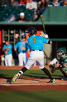 Lansing Lugnuts DJ Neal (7) at bat during a Midwest League game against the Beloit Snappers at Cooley Law School Stadium on May 4, 2019 in Lansing, Michigan. The Lugnuts wore their Copa de la Diversión jerseys, becoming the Lansing Locos for the evening. Beloit defeated Lansing 2-1. (Zachary Lucy/Four Seam Images)