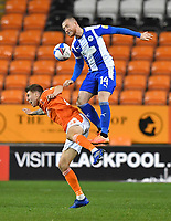 Blackpool's Daniel Leo Gretarsson is fouled by  Wigan Athletic's Joe Garner<br /> <br /> Photographer Dave Howarth/CameraSport<br /> <br /> The EFL Sky Bet League One - Blackpool v Wigan Athletic - Tuesday 3rd November 2020 - Bloomfield Road - Blackpool<br /> <br /> World Copyright © 2020 CameraSport. All rights reserved. 43 Linden Ave. Countesthorpe. Leicester. England. LE8 5PG - Tel: +44 (0) 116 277 4147 - admin@camerasport.com - www.camerasport.com