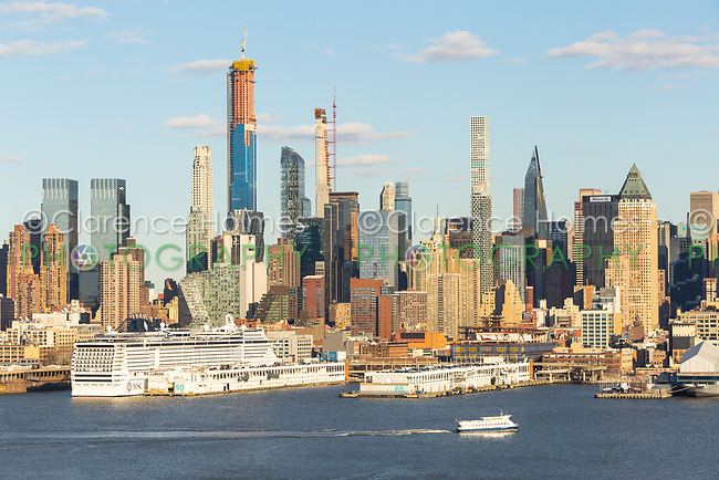 Part of the evolving mid-town Manhattan skyline, including supertall skyscrapers on West 57th street, in New York City.
