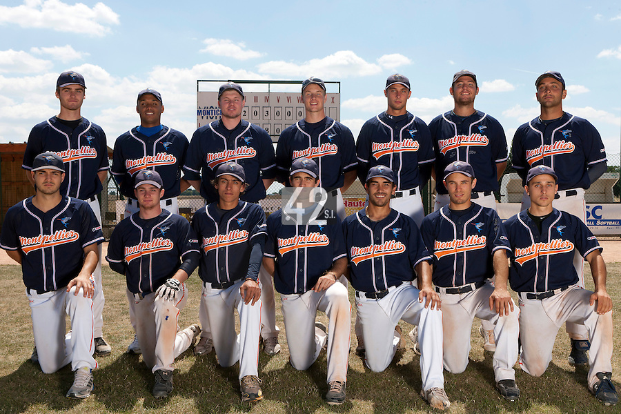 15 July 2011: Team Montpellier poses prior to the 2011 Challenge de France match won 10-7 by the Montpellier Barracudas over Montigny Cougars, in Les Andelys, near Rouen, France.