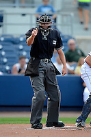 Umpire Ryan Additon makes a call during a game between the Charlotte Stone Crabs and Palm Beach Cardinals at Charlotte Sports Park on April 7, 2013 in Port Charlotte, Florida.  Palm Beach defeated Charlotte 8-1.  (Mike Janes/Four Seam Images)