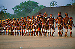 Parade at Kuarup (funeral) ceremony, Upper Xingu Indians, Matogrosso, Brazil<br />