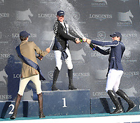 MIAMI BEACH, FL - APRIL 15: Jerome Guery, Alberto Zorzi, Nicola Philippaerts at the Longines Global Champions Tour stop in Miami Beach. The winner was Jerome Guery (BE), second place was Alberto Zorzi (IT) and third place was Nicola Philippaerts (BE). Also riding but did not make the finals was Georgina Bloomberg, Jessica Rae Springsteen and Jennifer Gates on April 15, 2017 in Miami Beach, Florida.<br /> <br /> People:  Jerome Guery, Alberto Zorzi, Nicola Philippaerts