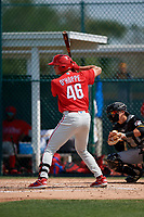 Philadelphia Phillies Logan O'Hoppe (46) during a minor league Spring Training game against the Pittsburgh Pirates on March 13, 2019 at Pirate City in Bradenton, Florida.  (Mike Janes/Four Seam Images)