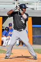 Bristol White Sox center fielder Courtney Hawkins #34 swings at a pitch during a game against the Kingsport Mets at Hunter Wright Stadium on July 28, 2012 in Kingsport, Tennessee. The Mets defeated the White Sox 9-5. (Tony Farlow/Four Seam Images).
