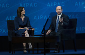 United States Senator Chris Coons (Democrat of Delaware) is interviewed by Claire Shipman at the American Israel Public Affairs Committee (AIPAC) 2018 Policy Conference at the Washington Convention Center in Washington, DC on Tuesday, March 6, 2018.<br /> Credit: Ron Sachs / CNP