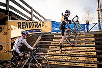 Wout van Aert (BEL/Jumbo-Visma) mounting the stairs ahead of Tom Pidcock (GBR/Trinity)<br /> <br /> 2021 GP Sven Nys in Baal (BEL)<br /> <br /> ©kramon