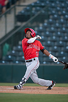 AZL Angels designated hitter Drevian Williams-Nelson (2) follows through on his swing during an Arizona League game against the AZL Diamondbacks at Tempe Diablo Stadium on June 27, 2018 in Tempe, Arizona. The AZL Angels defeated the AZL Diamondbacks 5-3. (Zachary Lucy/Four Seam Images)