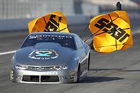 Feb 8, 2020; Pomona, CA, USA; NHRA pro stock driver Marty Robertson during qualifying for the Winternationals at Auto Club Raceway at Pomona. Mandatory Credit: Mark J. Rebilas-USA TODAY Sports