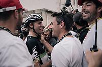 Edvald Boasson Hagen (NOR/Dimension Data) wins the stage and celebrates with familiar faces nearby<br /> <br /> 104th Tour de France 2017<br /> Stage 19 - Embrun › Salon-de-Provence (220km)
