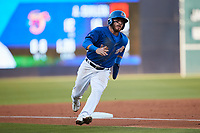 Esteban Quiroz (13) of the Durham Bulls rounds third base during the game against the Jacksonville Jumbo Shrimp at Durham Bulls Athletic Park on May 15, 2021 in Durham, North Carolina. (Brian Westerholt/Four Seam Images)