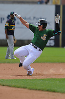 Clinton LumberKings Alex Jackson (35) slides into second base during the Midwest League game against the Beloit Snappers at Ashford University Field on June 12, 2016 in Clinton, Iowa.  The LumberKings won 1-0.  (Dennis Hubbard/Four Seam Images)