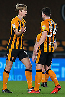Hull City's Martin Samuelsen celebrates scoring the opening goal with teammates<br /> <br /> Photographer Alex Dodd/CameraSport<br /> <br /> EFL Papa John's Trophy - Northern Section - Group H - Hull City v Grimsby Town - Tuesday 17th November 2020 - KCOM Stadium - Kingston upon Hull<br />  <br /> World Copyright © 2020 CameraSport. All rights reserved. 43 Linden Ave. Countesthorpe. Leicester. England. LE8 5PG - Tel: +44 (0) 116 277 4147 - admin@camerasport.com - www.camerasport.com
