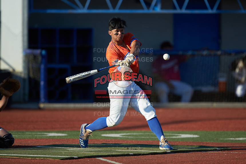 Angelo Pahila (14) (Southern Wesleyan) of the Lexington Flying Pigs competes in the Old North State League All-Star Home Run Derby at Hooker Field on July 11, 2020 in Martinsville, VA.  (Brian Westerholt/Four Seam Images)