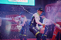 champagne party on stage with Team Orica-GreenEDGE<br /> <br /> Giro d'Italia 2014<br /> stage 1: TTT