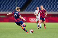 SAITAMA, JAPAN - JULY 24: Abby Dahlkemper #17 of the USWNT kicks the ball during a game between New Zealand and USWNT at Saitama Stadium on July 24, 2021 in Saitama, Japan.