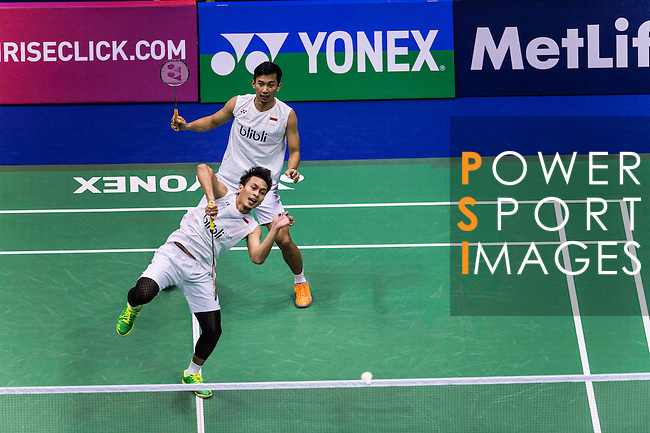 Mohammad Ahsan and Rian Agung Saputro of Indonesia compete against Goh V Shem and Tan Wee Kiong of Malaysia during the Men's Doubles' Quarter-final match of the YONEX-SUNRISE Hong Kong Open Badminton Championships 2016 at the Hong Kong Coliseum on 25 November 2016 in Hong Kong, China. Photo by Marcio Rodrigo Machado / Power Sport Images